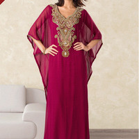 Very Fancy dubai Kaftan/Abaya/jalabiya ladies maxi dress(same on model, blue)
