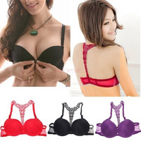 Women Front Closure Lace Racer Back Push Up Bra SV002835 Underwear = 1645785540