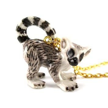 Porcelain Ring Tailed Lemur Shaped Hand Painted Ceramic Animal Pendant Necklace | Handmade