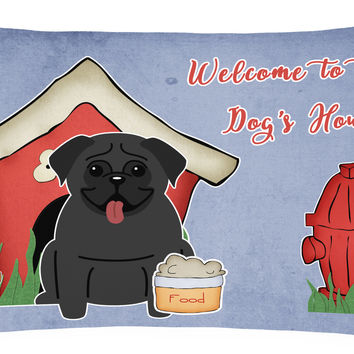Dog House Collection Pug Black Canvas Fabric Decorative Pillow BB2760PW1216