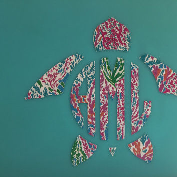 Lilly Pulitzer Inspired Turtle Monogram Decal- Turtle Monogram Decal- Turtle Monogram Sticker- Sea Turtle Monogram Decal- Dish Washer Safe