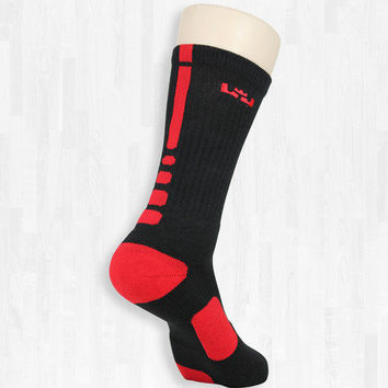 Lebron James - Black and Red Elite Socks | Rock 'Em Apparel