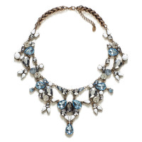 ZARA Blue and Silver Crystal Necklace Statement