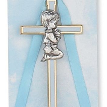 "Religious 3 3/4"" Blue Boy Cross Baby Cross, Crucifix, Wall Cross, Crib Medal. Great for Christening or Baptism."