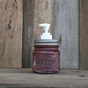 Mason Jar Soap Dispenser - Painted in Eggplant and Distressed - Rustic, Country, Shabby Chic, Farmhouse, Vintage Style