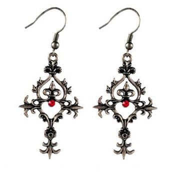 Gothic Filigree Dangle Ear Rings with Fleur-de-Lys and Red Gem