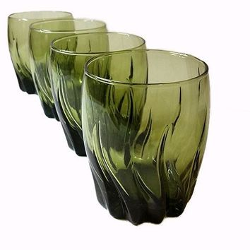 Anchor Hocking Ivy Green Central Park Rocks Glasses