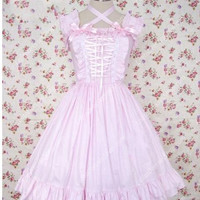 Simple Pink and White Splicing Sleeveless Flouncing Sweet Lolita Dress