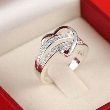 Silver Plated Heart Wedding Ring