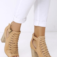 Chinese Laundry Tatiana Cognac Leather Braided Ankle Booties