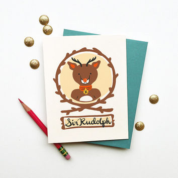 Sir Rudolph card of North Pole VIP holiday stationery christmas new year reindeer brown blue navy gold cute cheerful