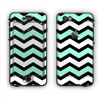 The Teal & Black Wide Chevron Pattern Apple iPhone 6 LifeProof Nuud Case Skin Set