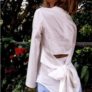 White Bow Knot Long-Sleeved Shirt  12380