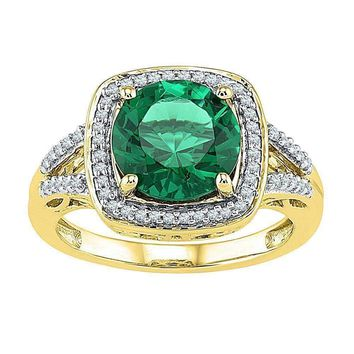 10kt Yellow Gold Women's Round Lab-Created Emerald Solitaire Square Diamond Frame Ring 4-1/6 Cttw - FREE Shipping (US/CAN)