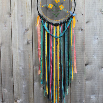 Handmade Large Wildflower Gypsy Doily Dream Catcher - Colorful Dreamcatcher