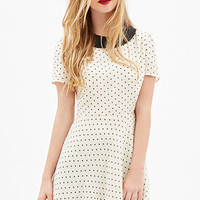 FOREVER 21 Collared Polka Dot Dress Cream/Black