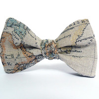 Bow Tie for Men by BartekDesign: self tie beige map traveler globetrotter gift for him wedding informal