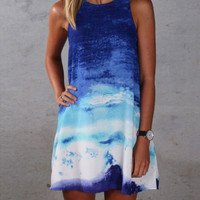 Tie Dye Sleeveless Loose Mini Dress