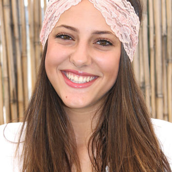 Light Pink  Wide Headband, Head Covering, Elastic lace Headband, Boho style, Women Hair, Turban Head Wrap, Handmade