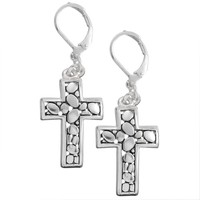 Pebble Cross Earrings