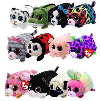 10CM Mini Teeny Tys Ty Plush Toys Beanie Boos Big Eyes Fox Unicorn Bunny Dragon Pocket TSUM Candy Pig Stuffed Doll TY Kids Gift