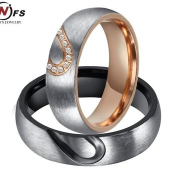 NFS 1Pair His & Hers Zircon Love Heart Wedding Promise Ring Set 316L Stainless Steel Couples Engagement Ring For Men And Woman