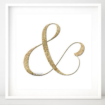 """Glitter ampersand print, & gold glitter art print, """"and"""" symbol printable, trendy typography gold wall art, gold ampersand, gold sign gp014b"""