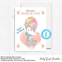Mermaid Birthday Invitation, Girl, Narwal, Unicorn and Mermaid Invites, Rainbow Invitation, Template, Instant Download, Under the Sea, NAR1