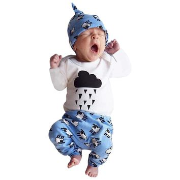 Baby clothes baby romper Newborn Infant Baby Girl Boy Cloud Romper+Pants+Hat Outfits baby Clothes Set drop shipping