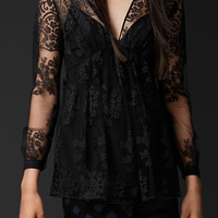 Embroidered Lace V-Neck Top
