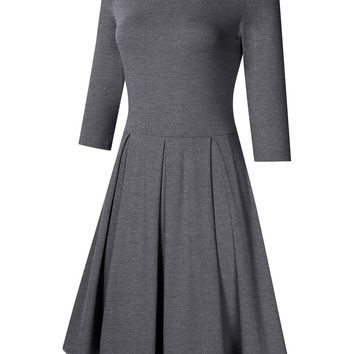 MISSKY Women Long Sleeve Round Neck A-Line Knee-Length Fit and Flare Swing Casual Vintage Dress (XL, Grey Long Sleeve)