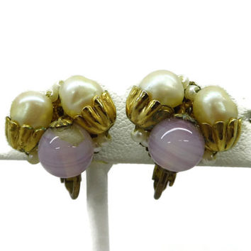 Vintage MIRIAM HASKELL Faux Pearl and Purple Bead Earrings, Clip-on Screwback Cluster Earrings