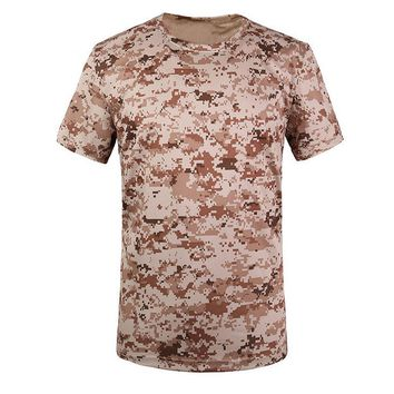 SYB Camouflage T-shirt Men Breathable Army T actical Combat T Shirt Military Dry Camo Camp Tees-ACU yellow