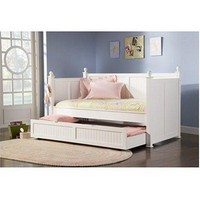 Twin Size White Wood Daybed With Pull-Out Trundle Bed 2