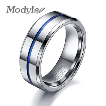 Fashion Thin Blue Line Wedding  Rings for Men