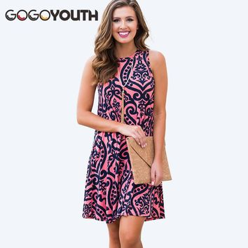 Gogoyouth Mini Women Summer Dress And Sundress 2018 Casual Vintage Print Loose Beach Dress Red Elegant Party Dress Robe Femme