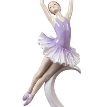 Pas De Poisson Ballet Dancer Pose Porcelain Glazed Ceramic Ballerina Figurine 10.75H