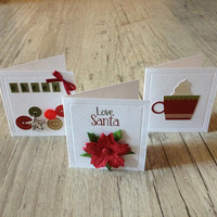 Christmas greeting cards - set of 3 scrapbooking OOAK crafted cards - red green rustic - new year winter snow bell-europeanstreetteam