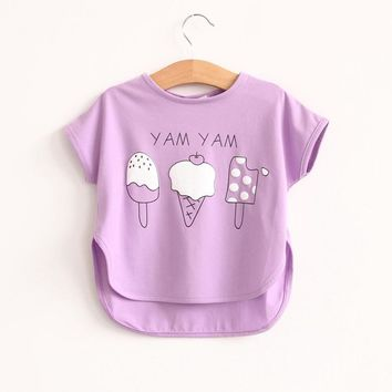 Free shipping summer Hot sale 2016 child clothing baby girl t shirt colours ice cream Korean Tops Tees Casual Fashion Kids wear