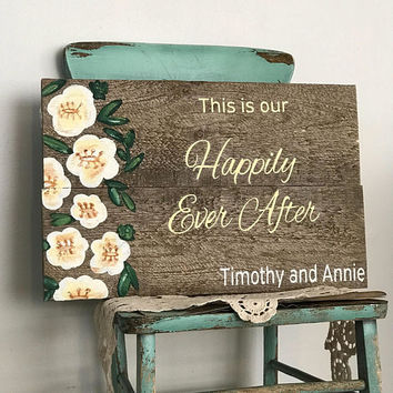 wedding welcome sign happily ever after personalized wedding gift for couple bridal shower