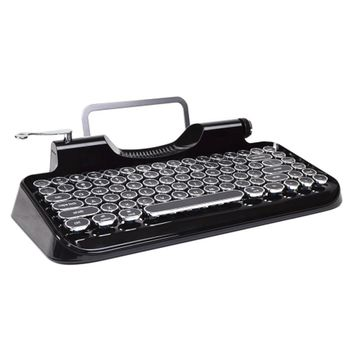 Retro Typewriter Inspired Bluetooth Mechanical Keyboard with Integrated Tablet Stand (Black)