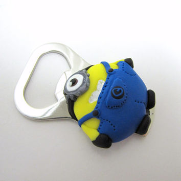 Despicable me inspired minion bottle opener, Minion keychain, Minion magnet