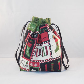 Black, Green and Red Christmas Drawstring Gift Bag