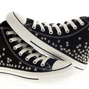 DCKL9 Studded converse, Silver Star Studs with Black converse chuck by CUSTOMDUO on ETSY