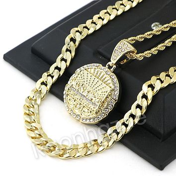 LAST SUPPER ROUND CHARM ROPE CHAIN DIAMOND CUT CUBAN CHAIN NECKLACE G67