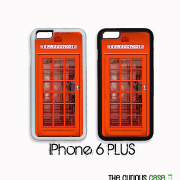 PLUS iPhone 6 PLUS Case | Hard Case For iPhone 6 Plus Plastic or Rubber Trim British Red Phone Booth