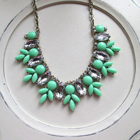 Beaded Bib Statement necklace Rhinestone bubble necklace mint, turquoise or dark coral
