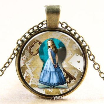 Alice in Wonderland Bronzen/Silvery Necklace Cartoon Fairy Princess Glass Cabochon Pendant Handmade Party Favors Gift for Girls