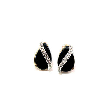 14K Black Onyx Diamond Stud Earrings, Pear Teardrop Shaped Yellow Gold Pave Set Diamond Wrap Around, Frances Gadbois Style