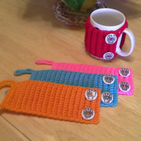 Day of the Dead Sugarskull mug cozy set, Crochet Mug Cozy, coffee cup cozies, koozie